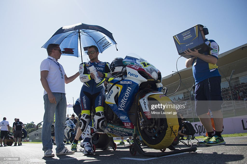 Randy De Puniet of France and Voltcom Crescent Suzuki prepares to start on the grid of the WSBK race 1 during the World Superbikes Race at Enzo Dino...