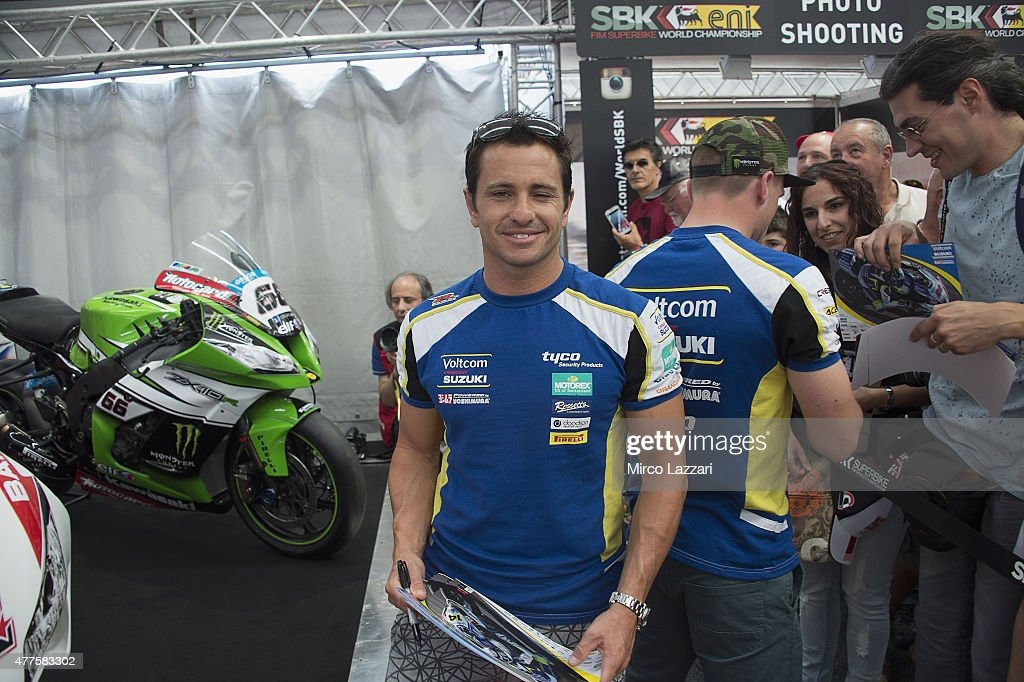 Randy De Puniet of France and Voltcom Crescent Suzuki smiles at fans during the paddock show during the FIM Superbike World Championship - Preview at Misano World Circuit on June 18, 2015 in Misano Adriatico, Italy.