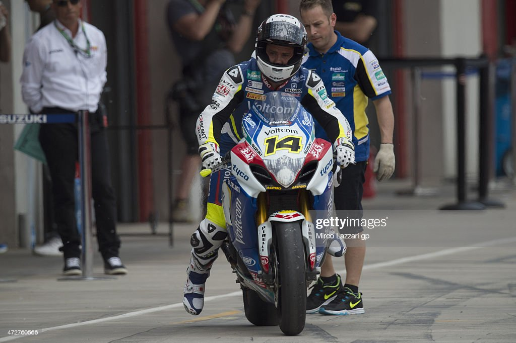 Randy De Puniet of France and Voltcom Crescent Suzuki starts from box during the qualifying practice during the World Superbikes Qualifying at Enzo...
