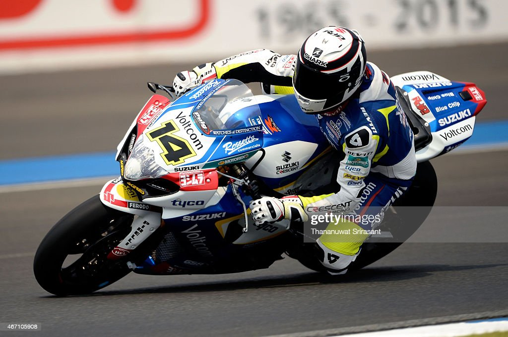 Randy de Puniet of France from Voltcom Crescent Suzuki rides on free practice during the Superbike World Championship at Chang International Circuit...