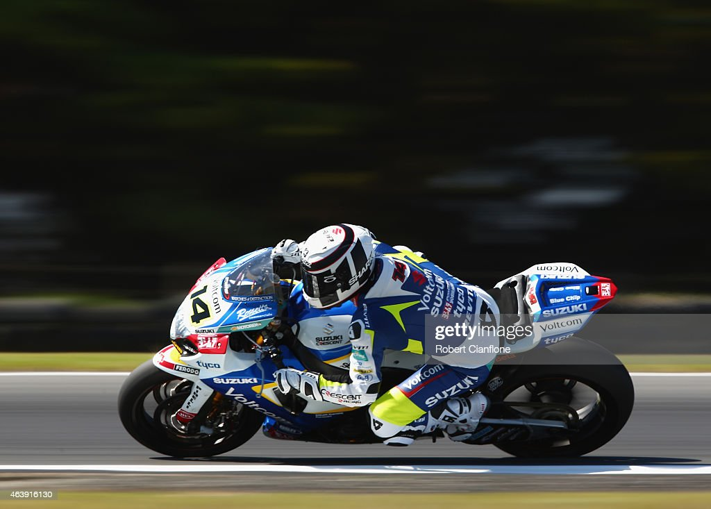 Randy De Puniet of France rides the #14 VOLTCOM Crescent Suzuki GSX-R1000 during the World Superbikes World Championship Australian Round at Phillip Island Grand Prix Circuit on February 20, 2015 in Phillip Island, Australia.