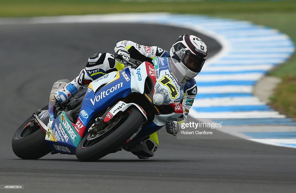 Randy De Puniet of France rides the #14 VOLTCOM Crescent Suzuki GSX-R1000 during practice for the World Superbikes World Championship Australian Round at Phillip Island Grand Prix Circuit on February 21, 2015 in Phillip Island, Australia.