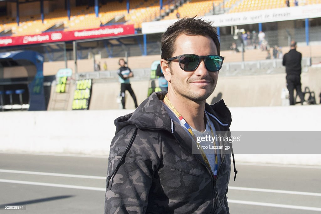 Randy De Puniet of France smiles in pit during the MotoGp of France - Free Practice on May 6, 2016 in Le Mans, France.