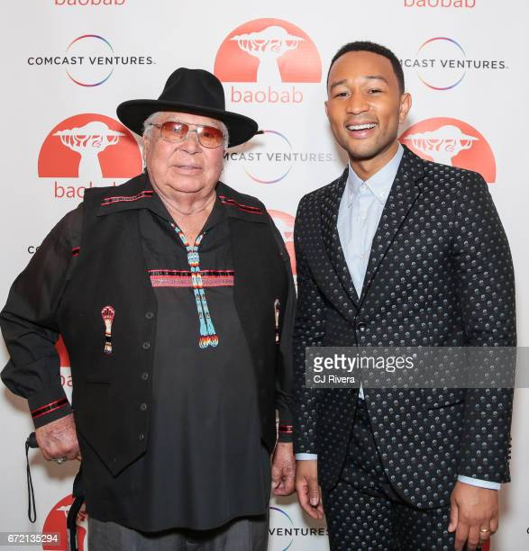 Randy Edmonds and John Legend attend the 2017 Tribeca Film Festival 'Rainbow Crow' premier party at the Top of the Standard on April 23 2017 in New...
