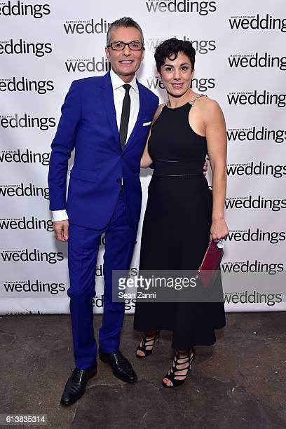 Randy Fenoli and Amy Conway attend Martha Stewart Weddings Bridal Fashion Week Party at Hudson Mercantile on October 10 2016 in New York City