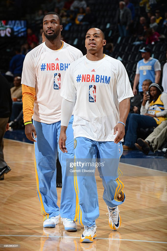 Randy Foye #4 and Jordan Hamilton #1 of the Denver Nuggets warm up before the game against the Milwaukee Bucks on February 5, 2014 at the Pepsi Center in Denver, Colorado.