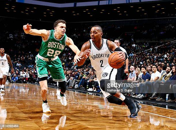 Randy Foye of the Brooklyn Nets handles the ball against RJ Hunter of the Boston Celtics during a preseason game on October 13 2016 at Barclays...