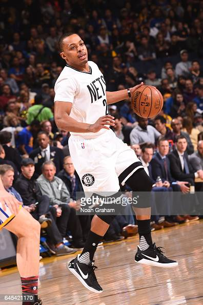 Randy Foye of the Brooklyn Nets handles the ball against the Golden State Warriors on February 25 2017 at ORACLE Arena in Oakland California NOTE TO...