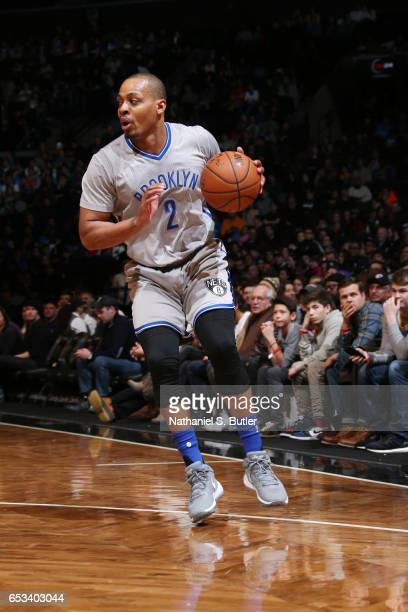 Randy Foye of the Brooklyn Nets handles the ball against the Oklahoma City Thunder during the game on March 14 2017 at Barclays Center in Brooklyn...