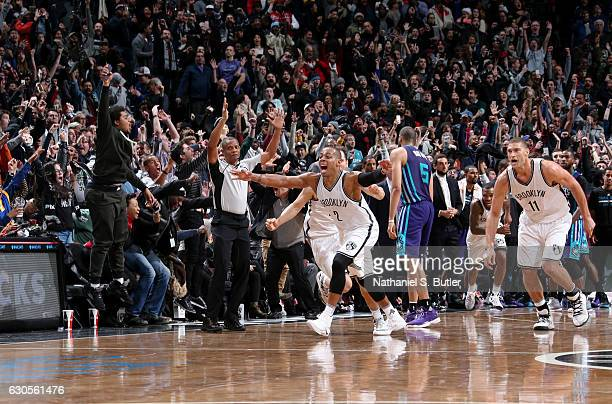 Randy Foye of the Brooklyn Nets reacts with team mates during a game between the Charlotte Hornets and the Brooklyn Nets on December 26 2016 at...