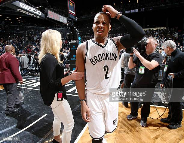 Randy Foye of the Brooklyn Nets talks with Sarah Kustok after a game between the Charlotte Hornets and the Brooklyn Nets on December 26 2016 at...