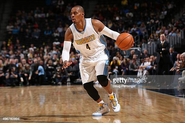 Randy Foye of the Denver Nuggets controls the ball against the Milwaukee Bucks at Pepsi Center on November 11 2015 in Denver Colorado The Nuggets...