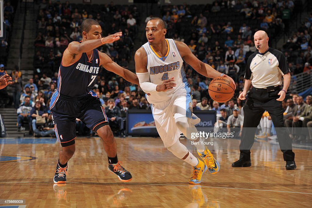 <a gi-track='captionPersonalityLinkClicked' href=/galleries/search?phrase=Randy+Foye&family=editorial&specificpeople=240185 ng-click='$event.stopPropagation()'>Randy Foye</a> #4 of the Denver Nuggets drives against the Charlotte Bobcats on January 29, 2014 at the Pepsi Center in Denver, Colorado.