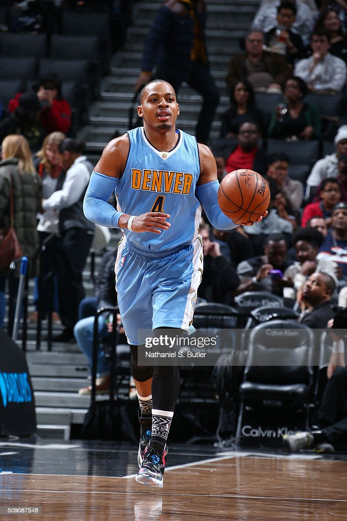 <a gi-track='captionPersonalityLinkClicked' href=/galleries/search?phrase=Randy+Foye&family=editorial&specificpeople=240185 ng-click='$event.stopPropagation()'>Randy Foye</a> #4 of the Denver Nuggets drives to the basket against the Brooklyn Nets during the game on February 8, 2016 at Barclays Center in Brooklyn, New York.