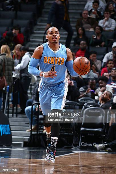 Randy Foye of the Denver Nuggets drives to the basket against the Brooklyn Nets during the game on February 8 2016 at Barclays Center in Brooklyn New...