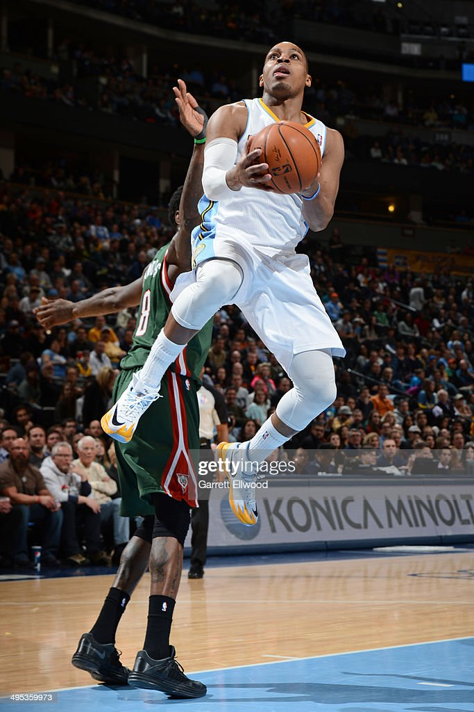 Randy Foye #4 of the Denver Nuggets drives to the basket during the game against the Milwaukee Bucks on February 5, 2014 at the Pepsi Center in Denver, Colorado.