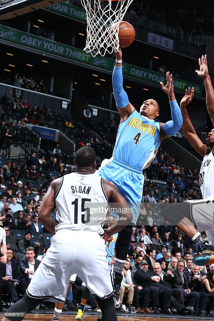 <a gi-track='captionPersonalityLinkClicked' href=/galleries/search?phrase=Randy+Foye&family=editorial&specificpeople=240185 ng-click='$event.stopPropagation()'>Randy Foye</a> #4 of the Denver Nuggets goes for the lay up against the Brooklyn Nets during the game on February 8, 2016 at Barclays Center in Brooklyn, New York.