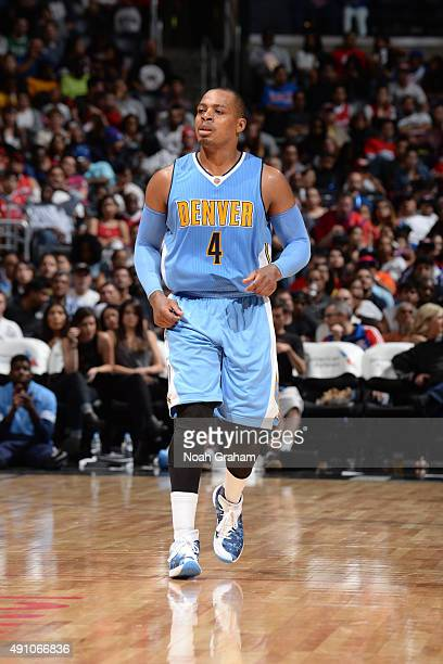 Randy Foye of the Denver Nuggets looks on against the Los Angeles Clippers during a preseason game on October 2 2015 at STAPLES Center in Los Angeles...