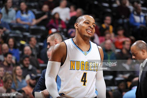 Randy Foye of the Denver Nuggets looks on during the game against the Portland Trail Blazers on January 3 2016 at the Pepsi Center in Denver Colorado...