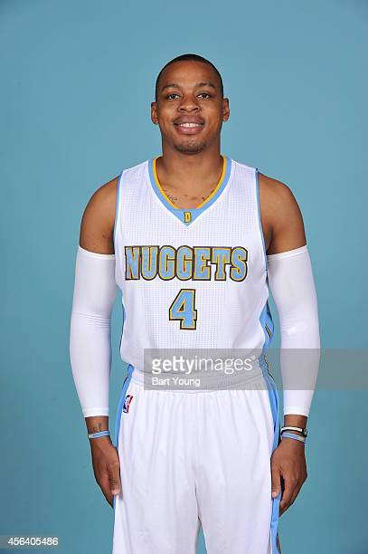 Randy Foye of the Denver Nuggets pose for portraits during NBA Media Day on September 23 2014 at the Pepsi Center in Denver Colorado NOTE TO USER...