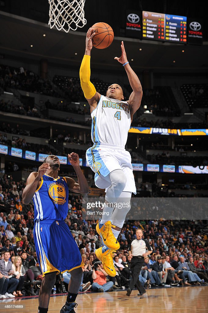 Randy Foye #4 of the Denver Nuggets shoots against the Golden State Warriors on April 16, 2014 at the Pepsi Center in Denver, Colorado.