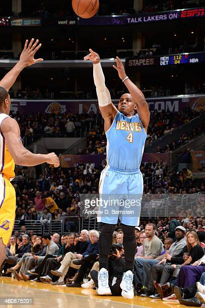 Randy Foye of the Denver Nuggets shoots during a game against the Los Angeles Lakers at STAPLES Center on January 5 2014 in Los Angeles California...