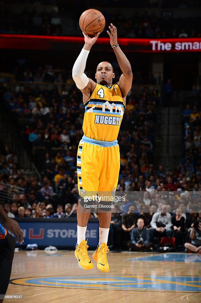 <a gi-track='captionPersonalityLinkClicked' href=/galleries/search?phrase=Randy+Foye&family=editorial&specificpeople=240185 ng-click='$event.stopPropagation()'>Randy Foye</a> #4 of the Denver Nuggets shoots the ball against the Oklahoma City Thunder on December 17, 2013 at the Pepsi Center in Denver, Colorado.