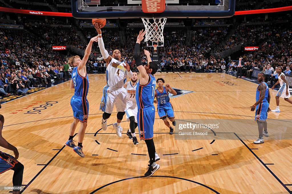 Randy Foye #4 of the Denver Nuggets shoots the ball against the Oklahoma City Thunder on January 19, 2016 at the Pepsi Center in Denver, Colorado.
