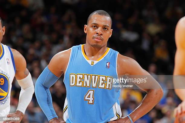 Randy Foye of the Denver Nuggets while facing the Golden State Warriors on April 10 2014 at Oracle Arena in Oakland California NOTE TO USER User...
