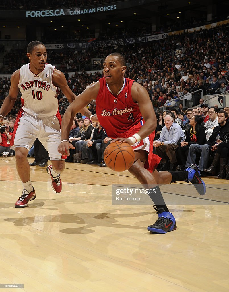 <a gi-track='captionPersonalityLinkClicked' href=/galleries/search?phrase=Randy+Foye&family=editorial&specificpeople=240185 ng-click='$event.stopPropagation()'>Randy Foye</a> #4 of the Los Angeles Clippers drives against DeMar DeRozan #10 of the Toronto Raptors on February 13, 2011 at the Air Canada Centre in Toronto, Ontario, Canada.