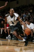 Randy Foye of the Minnesota Timberwolves drives against the Portland Trail Blazers during the 2006 Toshiba Vegas Summer League July 9 2006 at the Cox...