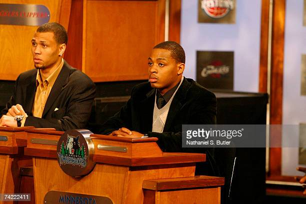 Randy Foye of the Minnesota Timberwolves gets the number seven pick during the 2007 NBA Draft Lottery on May 22 2007 at the NBATV Studios in Secaucus...