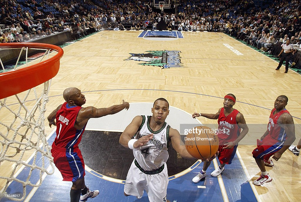 Randy Foye #4 of the Minnesota Timberwolves goes to the basket against Chauncey Billups #1, Richard Hamilton #32 and Jason Maxiell #54 of the Detroit Pistons during the game at Target Center on January 19, 2007 in Minneapolis, Minnesota. The Pistons won 104-98.