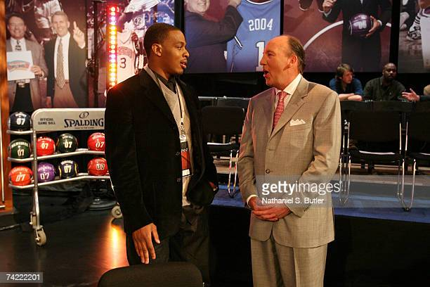 Randy Foye of the Minnesota Timberwolves speaks to Mike Dunleavy Head Coach of the Los Angeles Clippers prior to the 2007 NBA Draft Lottery on May 22...