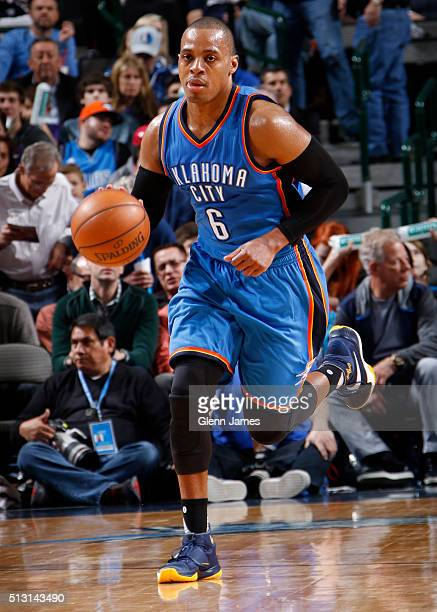 Randy Foye of the Oklahoma City Thunder dribbles the ball against the Dallas Mavericks on February 24 2016 at the American Airlines Center in Dallas...