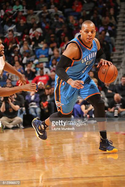 Randy Foye of the Oklahoma City Thunder drives to the basket against the New Orleans Pelicans during the game on February 25 2016 at Smoothie King...