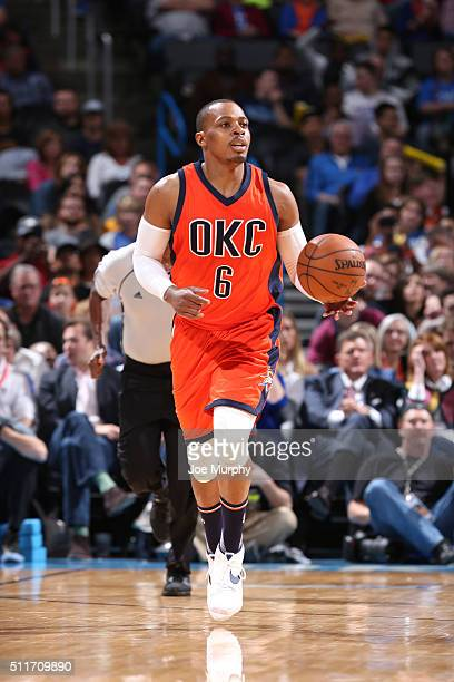 Randy Foye of the Oklahoma City Thunder handles the ball against the Cleveland Cavaliers on February 21 2016 at Chesapeake Energy Arena in Oklahoma...