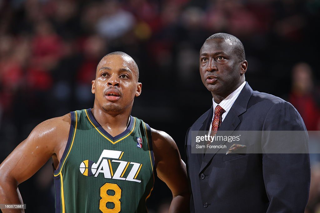 Randy Foye #8 of the Utah Jazz and Head Coach Tyrone Corbin of the Utah Jazz during the game between the Utah Jazz and the Portland Trail Blazers on February 2, 2013 at the Rose Garden Arena in Portland, Oregon.