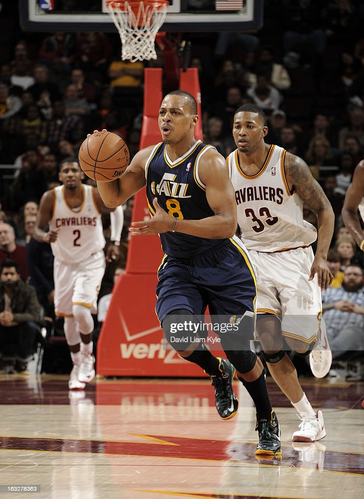 Randy Foye #8 of the Utah Jazz brings the ball up the court against the Cleveland Cavaliers at The Quicken Loans Arena on March 6, 2013 in Cleveland, Ohio.