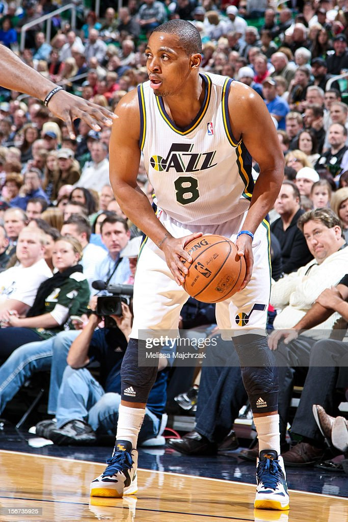 Randy Foye #8 of the Utah Jazz controls the ball against the Houston Rockets at Energy Solutions Arena on November 19, 2012 in Salt Lake City, Utah.