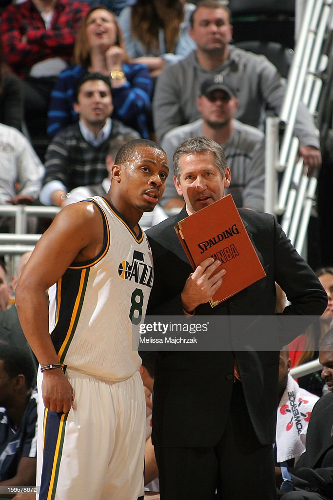 <a gi-track='captionPersonalityLinkClicked' href=/galleries/search?phrase=Randy+Foye&family=editorial&specificpeople=240185 ng-click='$event.stopPropagation()'>Randy Foye</a> #8 of the Utah Jazz dicusses a play against the Dallas Mavericks on January 7, 2013 in Salt Lake City, Utah.