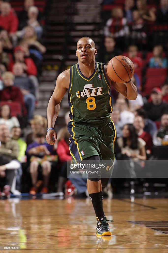 Randy Foye #8 of the Utah Jazz drives the ball during the game between the Utah Jazz and the Portland Trail Blazers on February 2, 2013 at the Rose Garden Arena in Portland, Oregon.