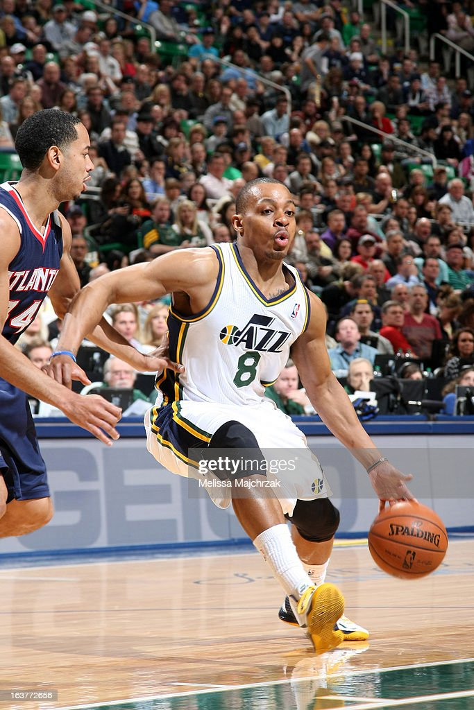 Randy Foye #8 of the Utah Jazz drives to the basket against the Atlanta Hawks at Energy Solutions Arena on February 27, 2013 in Salt Lake City, Utah.