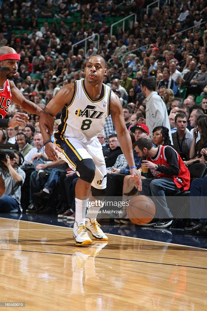 <a gi-track='captionPersonalityLinkClicked' href=/galleries/search?phrase=Randy+Foye&family=editorial&specificpeople=240185 ng-click='$event.stopPropagation()'>Randy Foye</a> #8 of the Utah Jazz drives to the basket against the Chicago Bulls at Energy Solutions Arena on February 08, 2013 in Salt Lake City, Utah.