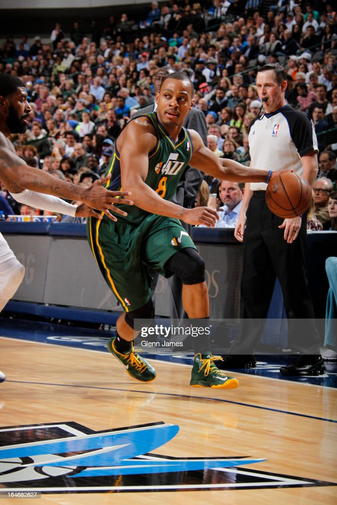 <a gi-track='captionPersonalityLinkClicked' href=/galleries/search?phrase=Randy+Foye&family=editorial&specificpeople=240185 ng-click='$event.stopPropagation()'>Randy Foye</a> #8 of the Utah Jazz drives to the basket against the Dallas Mavericks on March 24, 2013 at the American Airlines Center in Dallas, Texas.