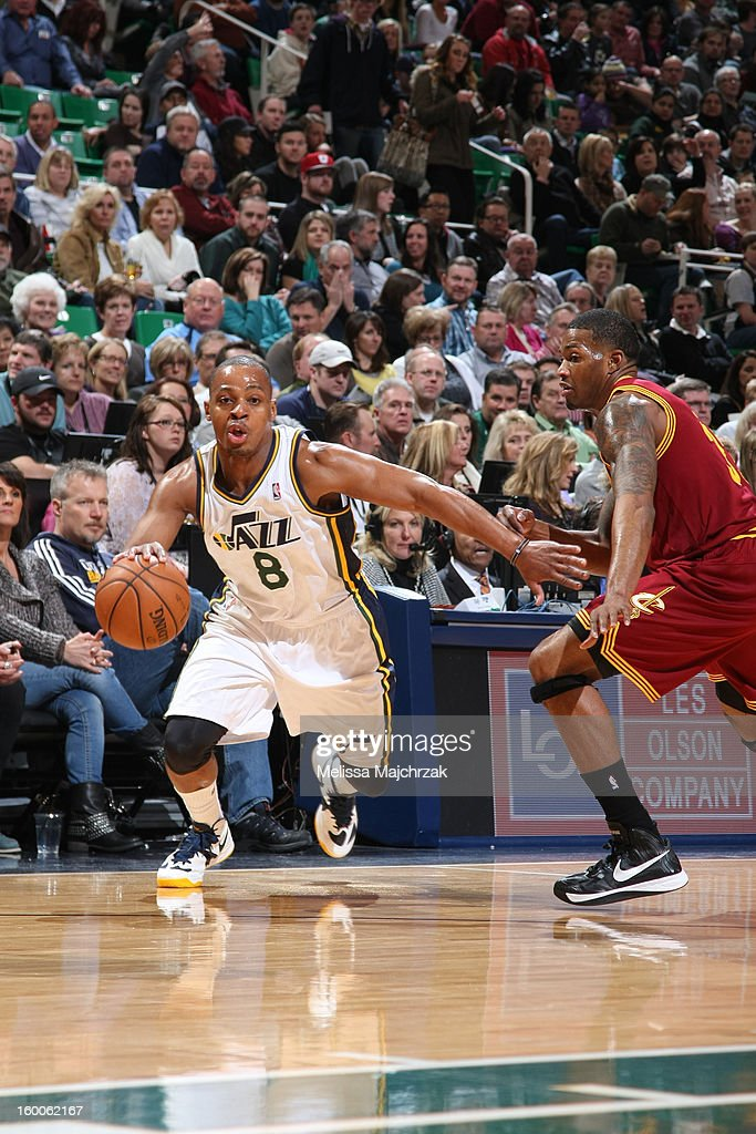 <a gi-track='captionPersonalityLinkClicked' href=/galleries/search?phrase=Randy+Foye&family=editorial&specificpeople=240185 ng-click='$event.stopPropagation()'>Randy Foye</a> #8 of the Utah Jazz drives to the basket against the Cleveland Cavaliers on January 19, 2013 in Salt Lake City, Utah.