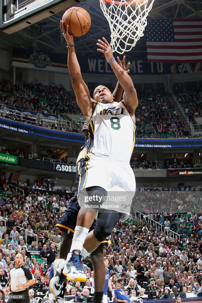 <a gi-track='captionPersonalityLinkClicked' href=/galleries/search?phrase=Randy+Foye&family=editorial&specificpeople=240185 ng-click='$event.stopPropagation()'>Randy Foye</a> #8 of the Utah Jazz drives to the hoop against the Indiana Pacers at Energy Solutions Arena on January 26, 2013 in Salt Lake City, Utah.
