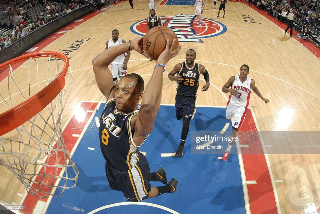 <a gi-track='captionPersonalityLinkClicked' href=/galleries/search?phrase=Randy+Foye&family=editorial&specificpeople=240185 ng-click='$event.stopPropagation()'>Randy Foye</a> #8 of the Utah Jazz dunks against the Detroit Pistons on January 12, 2013 at The Palace of Auburn Hills in Auburn Hills, Michigan.