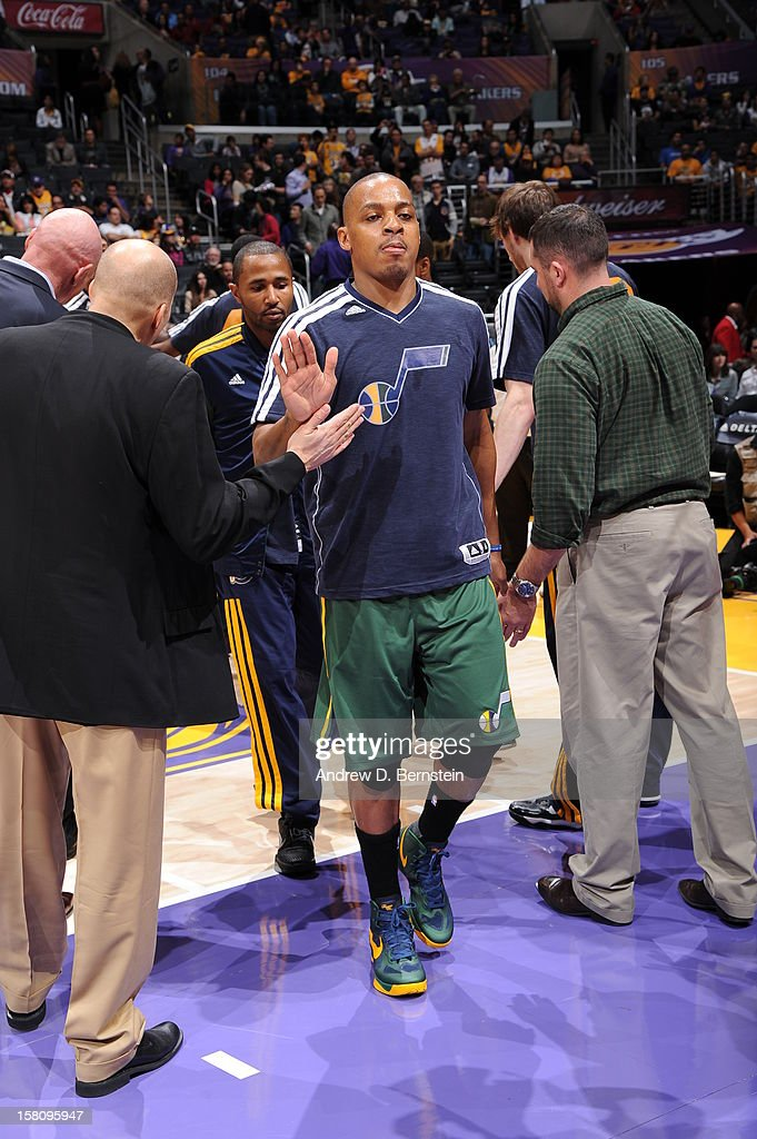 Randy Foye #8 of the Utah Jazz gets introduced before the game against the Los Angeles Lakers at Staples Center on December 9, 2012 in Los Angeles, California.