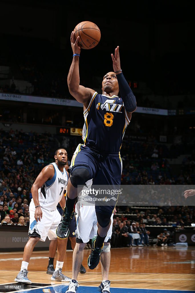 Randy Foye #8 of the Utah Jazz goes to the basket against the Minnesota Timberwolves on February 13, 2013 at Target Center in Minneapolis, Minnesota.